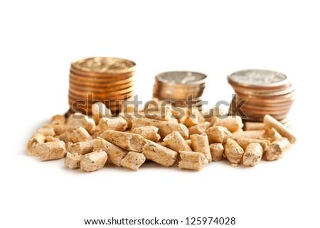 Wooden pellets -bio fuel on white background. - stock photo