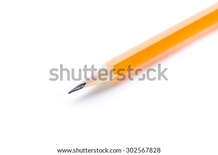 Wooden pencil on white background - stock photo