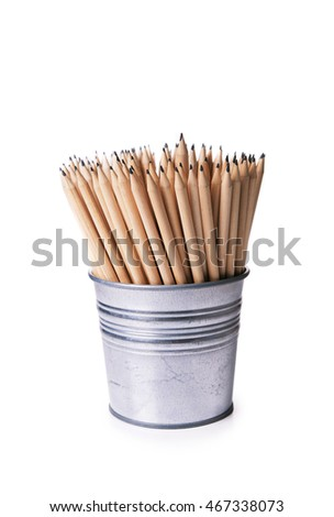 wooden pencils in holder isolated on white background