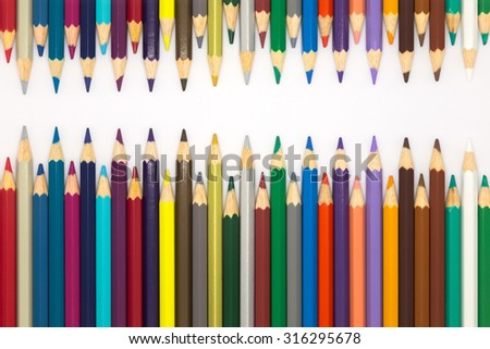 Wooden pencils with multiple color, on white background - stock photo