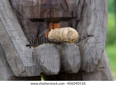 Wooden penis, symbol of lingam. Close up and soft center focus. - stock photo