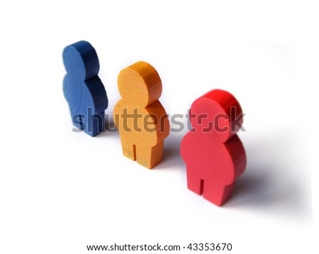 Wooden people isolated on a white background