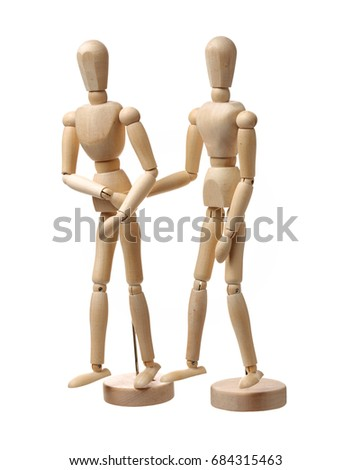 Wooden people love on white background