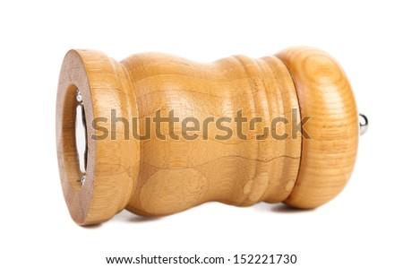 Wooden pepper or salt pot. - stock photo