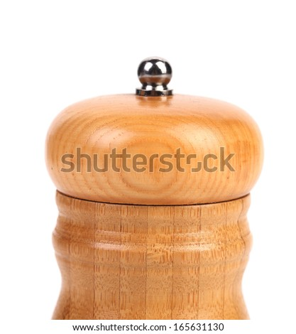 Wooden pepper or salt pot. Isolated on a white background - stock photo