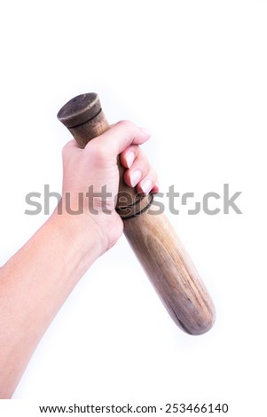 wooden pestle isolated on white background - stock photo