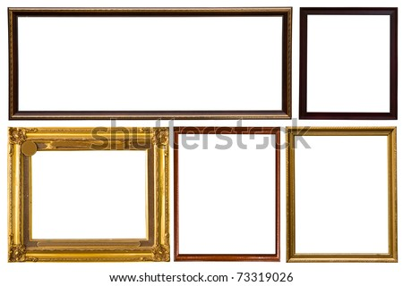 Wooden photo frame collection isolated on white background - stock photo