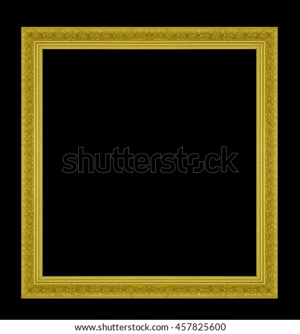Wooden Photo Frame gold  isolated on white background.