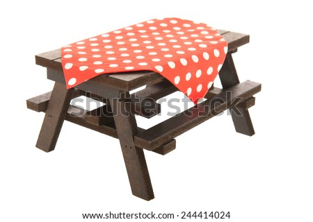 wooden picnic table for eating outdoor - stock photo