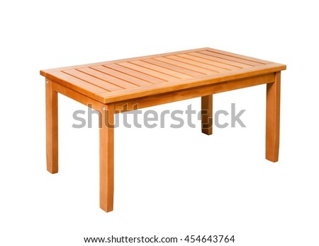 Wooden picnic table on a white background isolated - stock photo