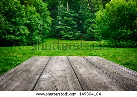 Wooden picnic table with green nature background - stock photo