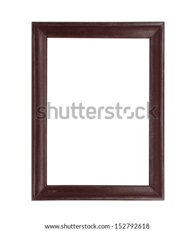 wooden picture black frame isolated on white background