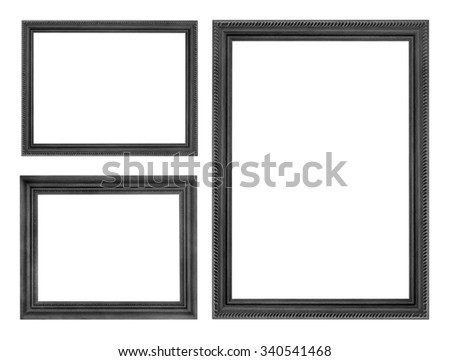 wooden picture black frame isolated on white background - stock photo