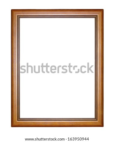 wooden picture frame.Isolate on white background