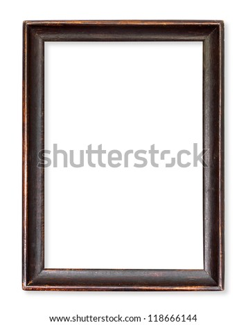 Wooden picture frame isolated on white - stock photo