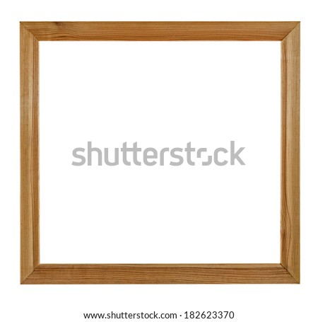 Wooden picture frame, isolated on white background, with clipping path - stock photo