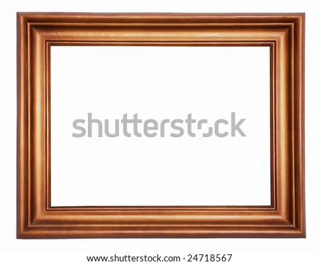 wooden picture-frame isolated on white background with clipping path