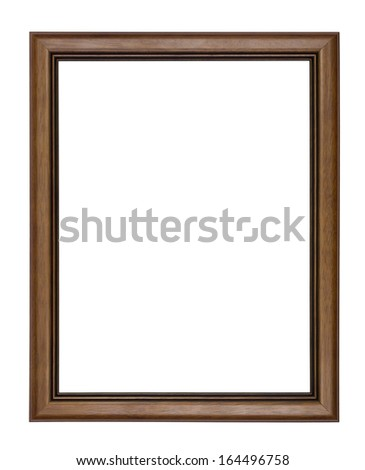 Wooden picture frame on white background. - stock photo