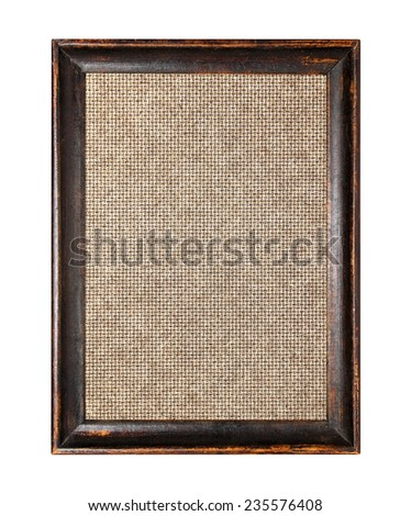 wooden picture frame on white background - stock photo
