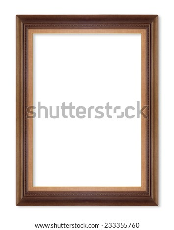 Wooden picture frames. Isolated on white background