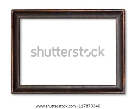 Wooden picture  isolated on white - stock photo