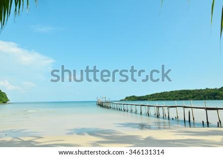 Wooden pier at Koh Kood, Thailand - stock photo