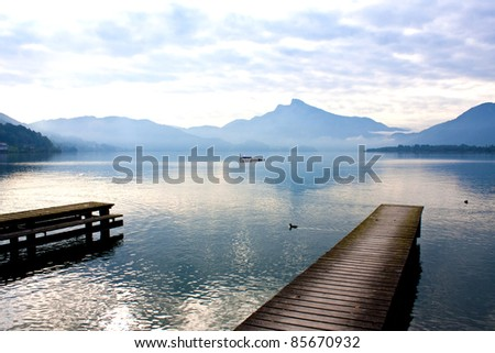 wooden pier in Mondsee,Austria - stock photo