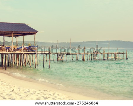 Wooden pier on the background of the sea. Koh Rong, Cambodia