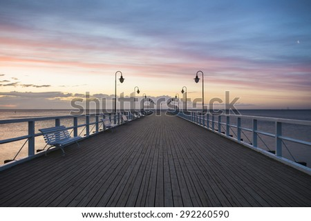 wooden pier on the shores of the Baltic Sea, Gdynia, Poland
