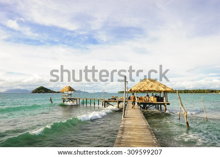 Wooden pier, Summer, Travel, Vacation and Holiday concept - Wooden pier in Kho mak, Thailand