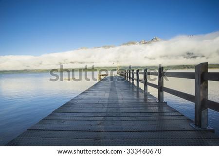 Wooden pier, Wakatipu Lake, Glenorchy, New Zealand - stock photo