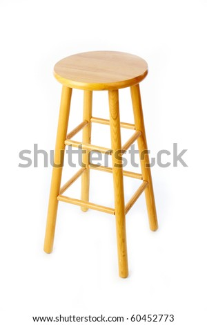 Wooden pine stool on white