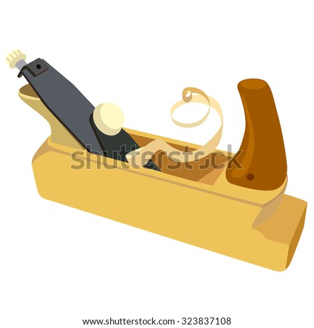 Wooden plane, boards and a shaving on a white background. illustration.