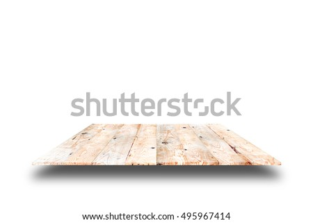 wooden plank shelves and white background. For product display.