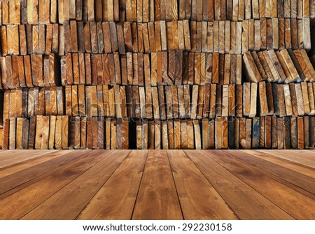 wooden plank with stack of wood background - stock photo