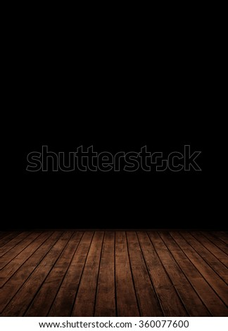 wooden planks leading into the dark. - stock photo