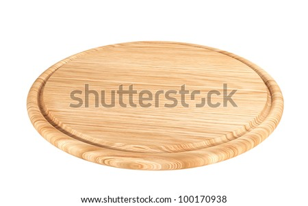 wooden plate for meat and vegetable on white background - stock photo