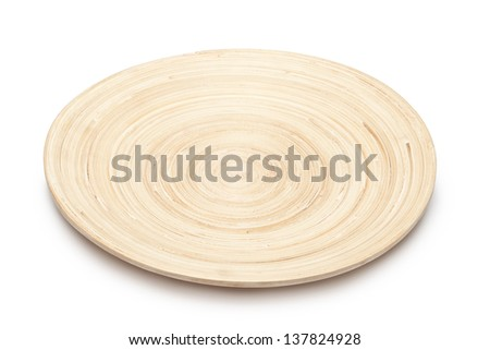 Wooden plate isolated on white background - stock photo