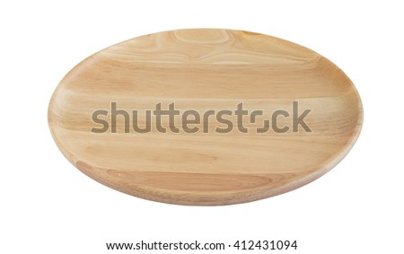Wooden plate isolated on white background (ready to make selection with clipping path on each object