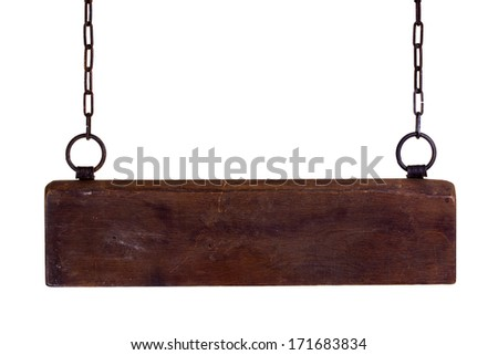 wooden plate on chains - stock photo