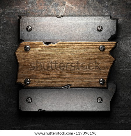 wooden plate on wall made in 3d - stock photo