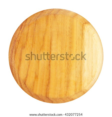 wooden plate top view isolated on white background