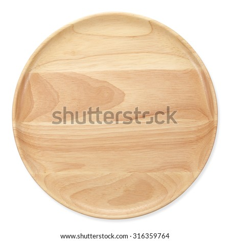 wooden plate  top view on white background - stock photo