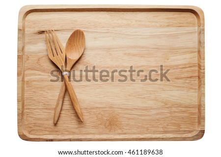 wooden plate with spoon fork