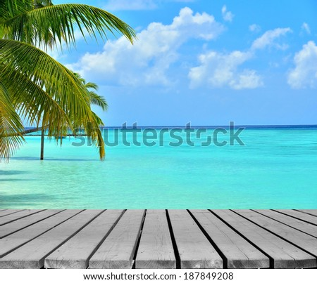 Wooden platform beside tropical beach with coconut palm tree - stock photo