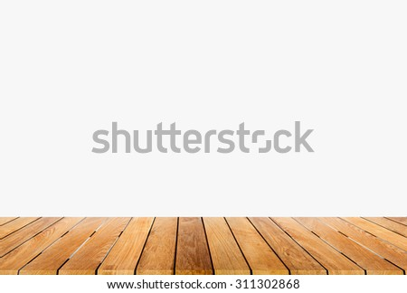 wooden platform with white background - stock photo