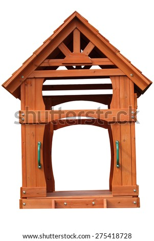 Wooden play house isolated on white background