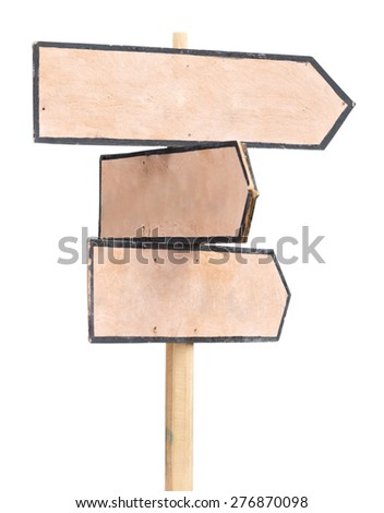 Wooden plywood arrows road sign isolated on white - stock photo