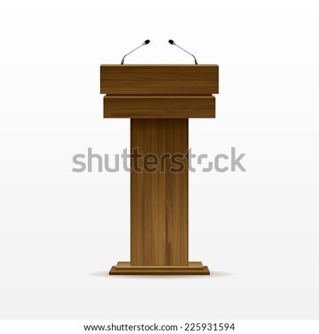 Wooden Podium Tribune Rostrum Stand with Microphones Isolated on White Background - stock photo