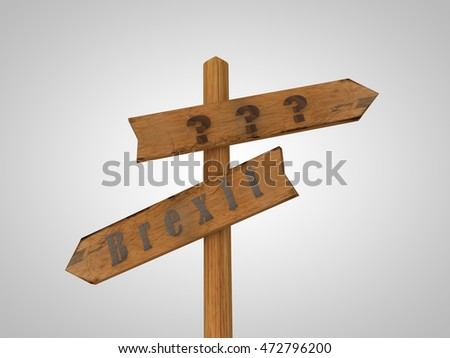 wooden pointer picture standing at the crossroads between Breksa and issues on a white background, 3d rendering,